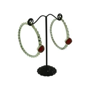 Stephen Webster Sterling Silver Superstud Red Crystal Haze Hoop Earrings