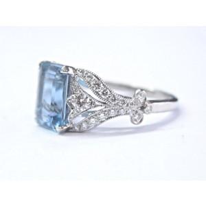 "Tiffany & Co. ""Legacy Collection"" Platinum with 3.44ct Aquamarine & 0.48ct Diamond Ring Size 6"