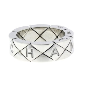 Chanel Matelasse flexible ring in 18k white gold size 5
