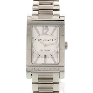 Bulgari Rettangolo RT45S Stainless Steel Silver Dial Automatic 43mm Mens Watch