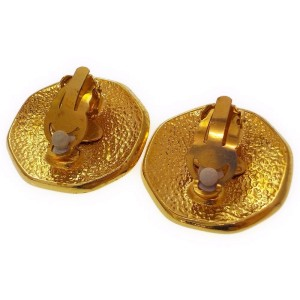 Chanel CC Mark Gold Tone Hardware Vintage Earrings