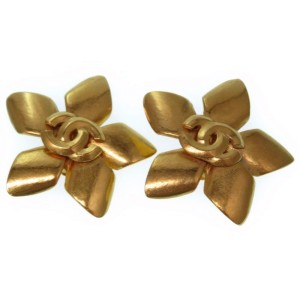 Chanel Gold Tone Hardware CC Mark Earrings