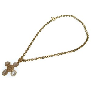 Chanel Coco Mark Gold Tone Hardware with Fake Pearl Chain Necklace