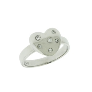 Tiffany & Co. 18K White Gold with 0.10ctw. Diamond Heart Ring Size 5.25