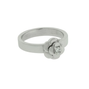 Chanel 18K White Gold Diamond Ring Size 6.25