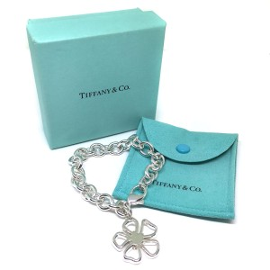 Tiffany & Co. 925 Sterling Silver Open Flower Hibiscus Nature Bracelet