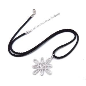 Tiffany & Co. 18K White Gold & Diamond Flower Motif Cotton Cord Necklace