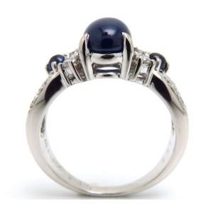 Tasaki PT900 Platinum with 2.18ct Blue Sapphire & 0.21ct Diamond Ring Size 6.25