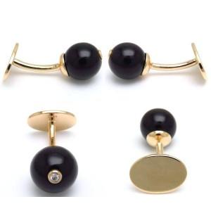 Tiffany & Co. 14K Yellow Gold Onyx & Diamond Set of Cufflinks & Tie Pin