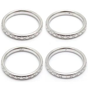 Gucci 18K White Gold Diamantissima Ring Size 3.75