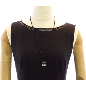 Georg Jensen Sterling Silver with Black Cord Strata Pendant Necklace
