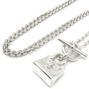 Hermes Sterling Silver Pendant Necklace