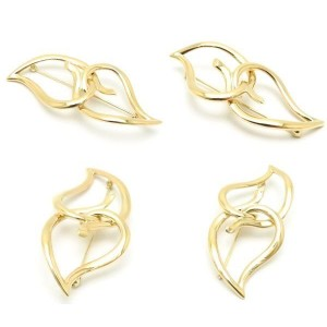 Tiffany & Co. 18K Yellow Gold Leaf Heart Brooch