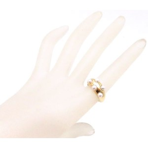 Mikimoto 18K Yellow Gold & Baby Pearl Ring Size 7.75