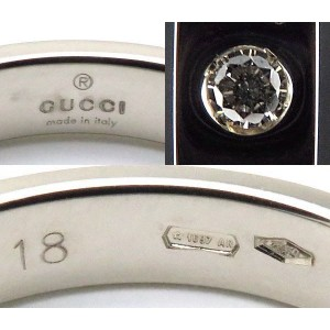 Gucci 18K White Gold and Diamond  Icon Band Ring Size 8.5