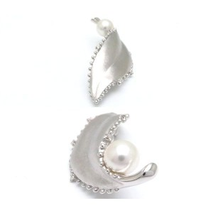 Mikimoto 18K White Gold Diamond & Pearl Leaf Motif Brooch