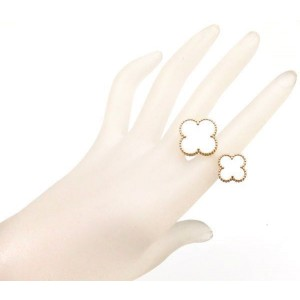 Van Cleef & Arpels 18K Yellow Gold with Mother of Pearl Magic Alhambra Ring Size 5