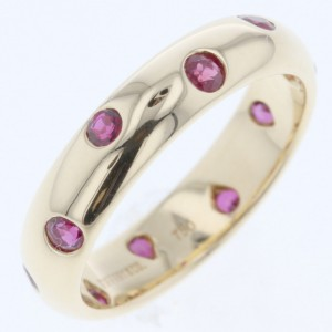 Tiffany & Co. 18K Yellow Gold and Ruby Dots Ring Size 4.25