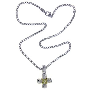 Judith Ripka 925 Sterling Silver and 18K Yellow Gold with 0.10ctw. Diamond Cross Pendant Necklace