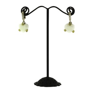 Judith Ripka 18K Yellow Gold with 925 Sterling Silver with 0.08ct Diamond and White Stone Earrings