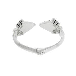 Stephen Webster 925 Sterling Silver & Gray Crystal Haze Hinged Bangle Bracelet