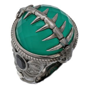 Stephen Webster 925 Sterling Silver Green Crystal Haze & Black Sapphire Fish Skeleton Ring Size 8