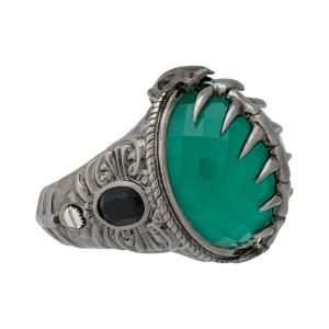Stephen Webster 925 Sterling Silver Green Crystal Haze & Black Sapphire Fish Skeleton Ring Size 8
