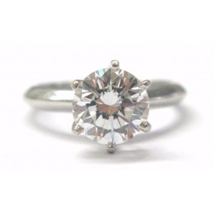 Tiffany & Co. 950 Platinum with 1.50ct Round Diamond Solitaire Engagement Ring Size 4.25