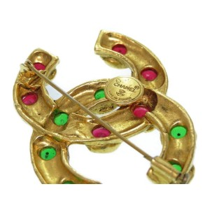 Chanel Coco Mark Gold Tone Hardware Green & Red Stone Vintage Brooch
