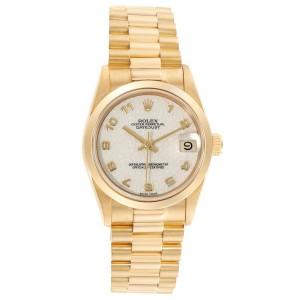Rolex President Datejust Midsize Yellow Gold Jubilee Dial Watch 68278