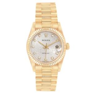 Rolex President Datejust 31 Midsize Yellow Gold Diamond Ladies Watch 68278