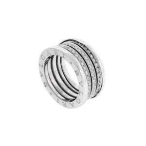 Bvlgari B 18K White Gold Diamond Ring Size 6.5