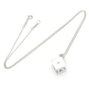 Tiffany & Co. Atlas Cube 925 Sterling Silver with Diamond Necklace