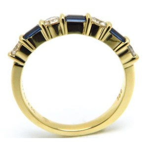 Tiffany & Co. 18K Yellow Gold with Blue Sapphire and Diamond Ring Size 6