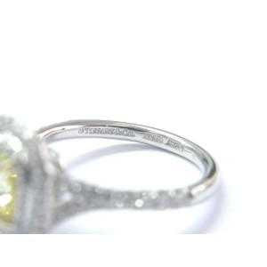 Tiffany & Co. Platinum 18K Yellow Gold Yellow Diamond Soleste Ring Size 4.5