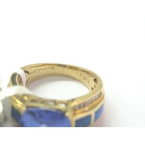 Natural Cushion AAAA Tanzanite & Diamond Opal Solid Yellow Gold Ring 6.08Ct 14KT