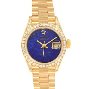 Rolex President Yellow Gold Lapis Diamond Ladies Watch 69158 Box Papers