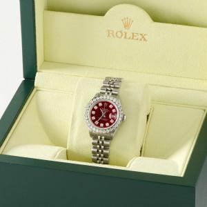Rolex Datejust Steel 26mm Jubilee Watch Candy Red 1.3CT Diamond Bezel & Dial