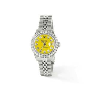 Rolex Datejust Steel 26mm Jubilee Watch Yellow Diamond Dial/Bezel