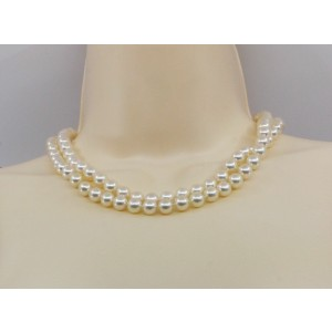 Mikimoto 8.5 mm pearl necklace in 18k white gold 35 inches