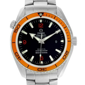 Omega Seamaster Planet Ocean XL Orange Bezel Mens Watch 2208.50.00