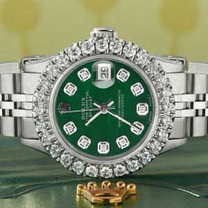 Rolex Datejust Steel 26mm Jubilee Watch 2CT Diamond Bezel Forest Green MOP Dial
