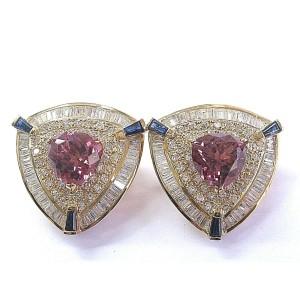 18Kt NATURAL Trillion Cut Pink Tourmaline Sapphire & Diamond Earrings YG 14.01Ct
