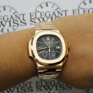 Patek Philippe 5980/1R-001 Rose Gold Nautilus Chronograph Watch Box Papers