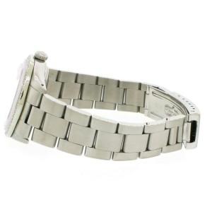 Rolex Date 34mm Stainless Steel Watch Pink Floral Diamond Dial & Bezel