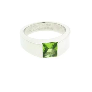 Cartier Tank peridot Ring in 18K White Gold size 50 USA 5.5
