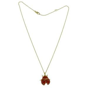 Roberto Coin large diamond 18k yellow gold red enamel Ladybug necklace