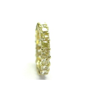 De Beers Fancy Yellow Radiant Cut Diamond Eternity Band Size 6.5 4.4mm 6.40Ct