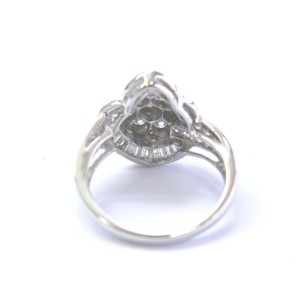 Fine Round & Baguette Diamond White Gold Pear Shape Cluster Ring 1.60Ct