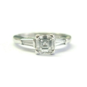 Robin Brothers Asscher Cut & Baguette Diamond Three Stone Ring 1.09Ct F-VVS2 GIA